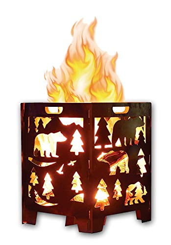 "SuperHandy Fire Pit Outdoor California Bear Christmas/X-Mas Tree (Develops Patina Finish) Heavy Duty Steel 21""x 21""x 27"" inches for Burning Wood at Bonfire, Beach Pit or Backyard Gathering - ULTRA DURABLE & RELIABLE - This Incinerator is made from 14 Gauge Carbon Steel with 2mm thick steel plates for sturdy and reliable support. Our firebox is made with extra reinforcement with tough base cross supports that can with stand the weight & heat. Laser cut for an accurate precision design pattern that draws the attention as the fire swells providing warmth on a cold night. SIMPLE SET UP - This portable fire pit is made to be simply assembled & dissembled in minutes, perfect for any outdoor occasion. We designed this unit for ease of portability with handles on all 4 sides & with a great diameter of 21""x21""x27"" for plenty of wood to burn. An ideal choice for: General Bonfire Areas (Camping), Backyard Gatherings, Patios/Decks & Beach Kickbacks. CLASSIC ANTIQUED METAL - We Chose Carbon Steel knowing it will develop a Patina Finish (Rust) from use overtime. This Burn Cage is meant to age & develop a Tarnished Antique Patina Vintage Finish. Our Fire Box caters to those who appreciate the finer quality of aesthetic looking timeless art & the nostalgia of fashionable aged decor. - patio, outdoor-decor, fire-pits-outdoor-fireplaces - 4184ctT37LL -"