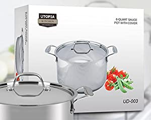 Induction Compatible Premium Stainless Steel Cookware - Multipurpose Use for Home Kitchen or Restaurant - Chef's Choice - by Utopia Kitchen (6 Quart Stock Pot)