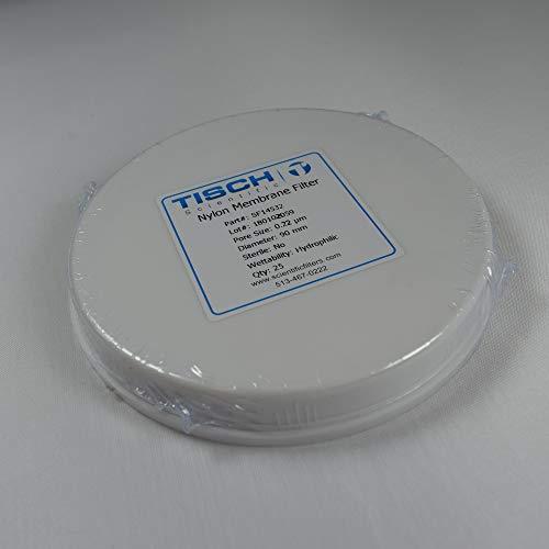 Tisch Brand SF14532 Nylon Membrane Filter, 0.22um, 90mm 1/pk/100 per Pack | Wettability: Hydrophilic | Maximum Operating Temperature: 100 Degrees C | Flow Rate: 2.5 (ml/min@10psi) | ()