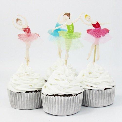 24 Ballerina Cupcake Toppers with Tulle Tutu [並行輸入品] B078QBHCDN
