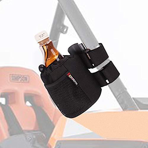 (KEMIMOTO UTV Roll Bar Drink Cup Holder with Mesh Pocket- Collapsible/Adjustable Water Bottle Holder Universal fits 1.7