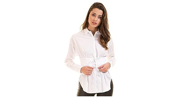 Camisa Blanca Popelina con fajín (Blanco - 40): Amazon.es: Ropa