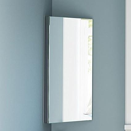 Armario esquinero de acero inoxidable con espejo de baño de 3 estantes de Home Treats