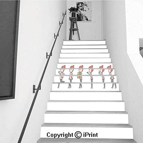 (baihemiya stickers 13Pcs Stair Sticker Decals 3D Creative Building Stair Risers Tiles Wallpaper Mural Self-Adhesive,Diverse Set of Female Chiropractor EPS10 vol)