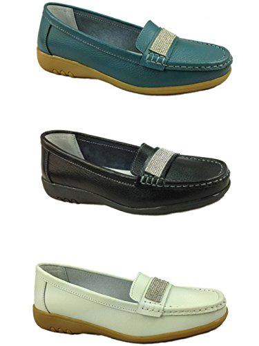Ladies Cassie Cushion Walk Real Leather Tassel Slip On Wider fitting Loafer Moccasin Shoes Size 3-8 Dimante:White 8dUXn1
