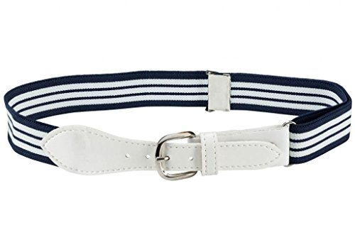 Kids Elastic Adjustable Belt with Leather Closure - Navy Striped With White ()