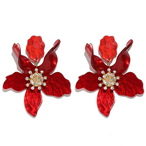 Boho Stud Earrings for Women - Chic Flower Statement Earrings with Gold Flower Bud, Great for Sister, Mom, Lover and Friends (Red) ()