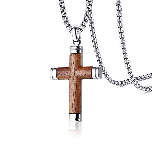 (Kalapure Mens Womens Titanium Steel Stainless Steel Crucifix Cross Pendant Neckalce with Wood Inlay Box Chain for Jesus Jesus Christ Religious Jewelry)