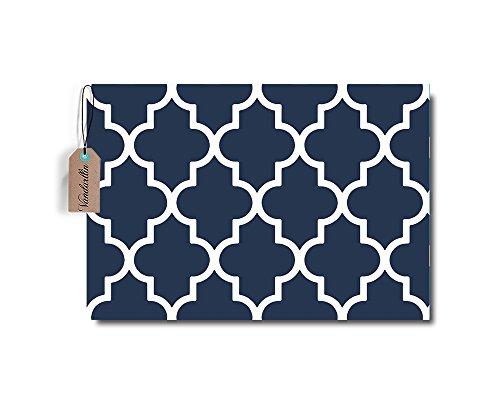 Moroccan Trellis Pattern Door Mats Rug Non-Skid Slip Rubber Indoor Outdoor Kitchen Entry (18 x 30, Navy Blue)