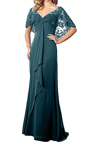 Pretygirl Women's Lace Chiffon Long Prom Evening Dress Mother of The Bride Dresses Wedding Gown (US 14, Teal)