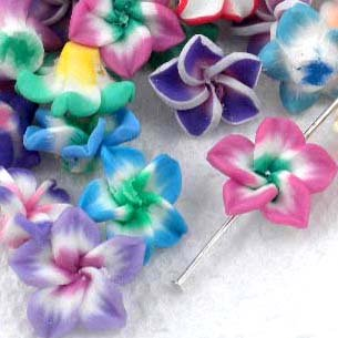 Beading Station 20-Piece Handmade Clay Lily Flower Beads, 15mm, Multicolor