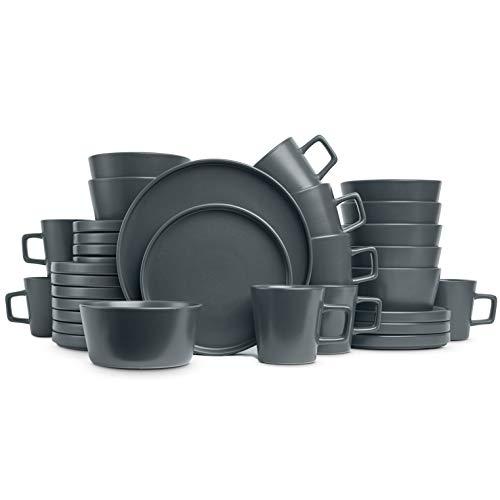 Stone Lain Coupe Dinnerware Set, Service For 8, Gray Matte