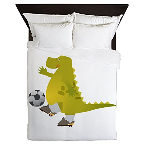 Queen Duvet Cover Dinosaur Playing Soccer by Truly Teague