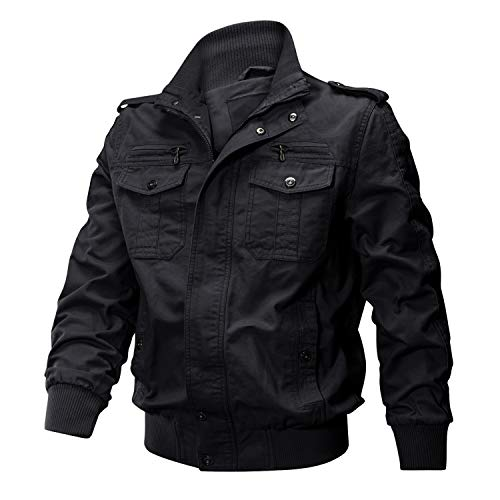 - CRYSULLY Men's Autumn Winter Cotton Military Jacket Classic Thermal Cargo Jacket Bomber Coat Black