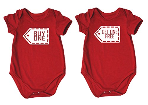 Petitebella Twins Buy One Get One Free Red Bodysuit Romper 2 Pcs Set Nb-18m (3-6 Months) -