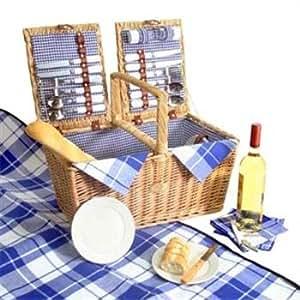 Coastal Picnic Basket For 4 Blue