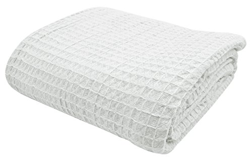 VALUE HOMEZZ Stock 100% Soft Cotton Thermal Blanket for All Season Easy Care Cozy Summer Cotton Blankets and Woven Bedspreads for Bed Waffle Weave Blankets (White Queen 90 x 90)