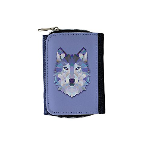 YEX Women's Crystal Wolf Head Stylish Denim Wallet
