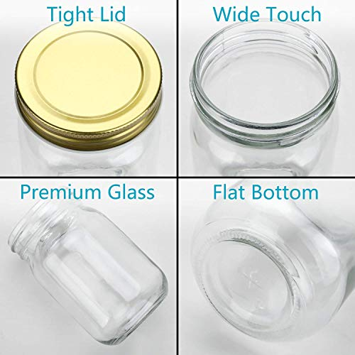fb5d7cbd372b Encheng 12 oz Glass Jars With Lids,Ball Wide Mouth Mason Jars ...