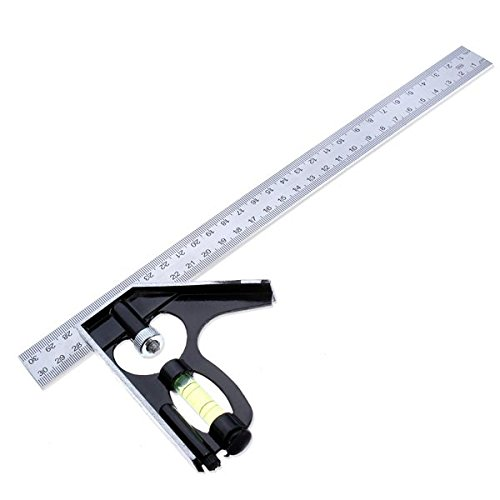 300mm Horizontal Angle Square Stainless 90 Dgree Woodworking Ruler. (Mitre Cup)