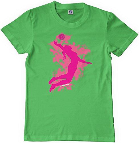Threadrock Big Girls' Volleyball Player Youth T-shirt L Grass Green (Green Needle Grass)