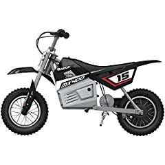 Your kid isn't afraid of a little dirt. The Razor MX400 Dirt Rocket is ideal for kids and teens ages 13 years and older who want to enjoy a revved-up version of the off-road dirt bike experience. This dirt bike is a high performance, electric...