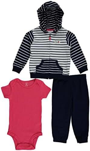 Carter's Baby Boys 3-Piece Short-Sleeve Safari Bodysuit, Navy/White Stripe, 18 Months