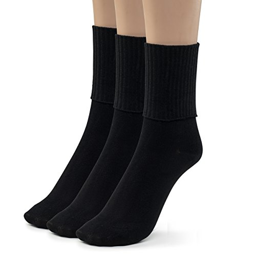 Silky Toes 3 Pk Turn Cuff Triple Roll Girl's School Crew Socks (Extra Large (10-13), Black)