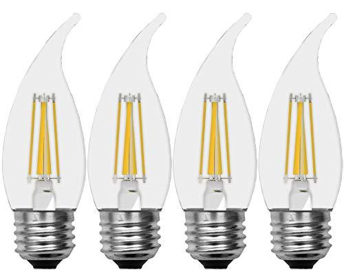 (GE Lighting Decorative Outdoor Soft White LED 3.5-watt (40-watt Replacement), 300-Lumen Bent Tip Light Bulb with Medium Base, Clear Finish, 4-Pack)