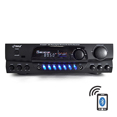 PYLE PT265BT Bluetooth 200W Digital Receiver Amplifier for Karaoke Mixing with Two Microphone Inputs & Four Speaker Outputs Best Deal