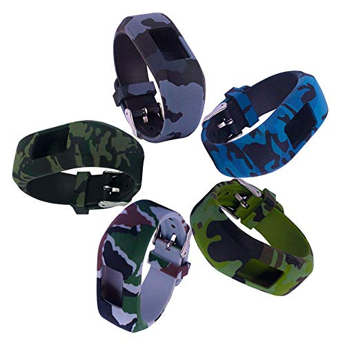 ECSEM Replacement Bands and Straps for Garmin Vivofit JR & Vivofit JR.2 & Vivofit 3 Band Large, [3pcs Floral Pattern Bands] for 5 Years Kids or Older Children, Navy/Army/Air Force (5-Colors)