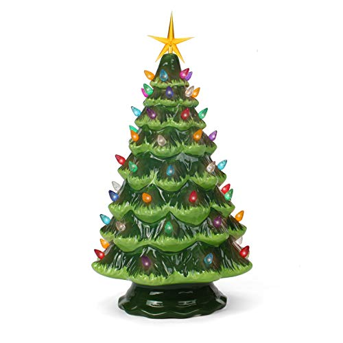 Ceramic Christmas Tree - Tabletop Christmas Tree Lights - (15.5