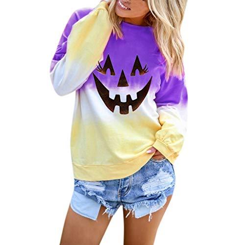 YiYLunneo Women Halloween Hoodie Sweatshirt Long Sleeve Colorblock Tie Printed Pullover Tops Purple