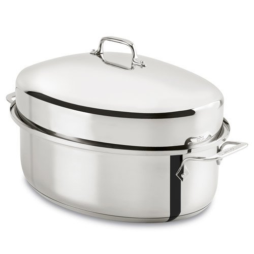 - All-Clad E7879664 Stainless Steel Dishwasher Safe Oven Safe Covered Oval Roaster Cookware, 15-Inch, Silver
