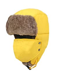 Waterproof Thick Yellow Outdoor Skiing Hat for Adult with Mask