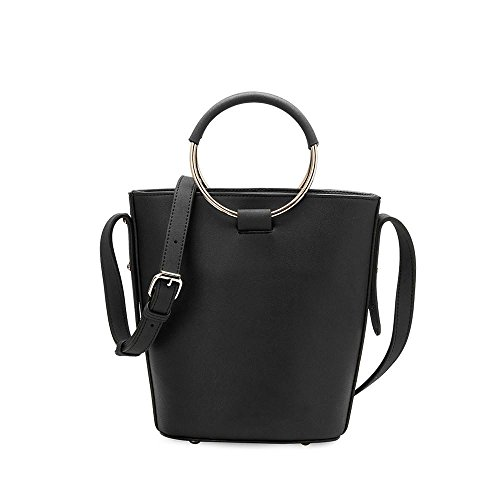 Melie Bianco Stella Large Women's Handbag Crossbody Top Handle Everydat Tote - Black - Gathered Tote Bag