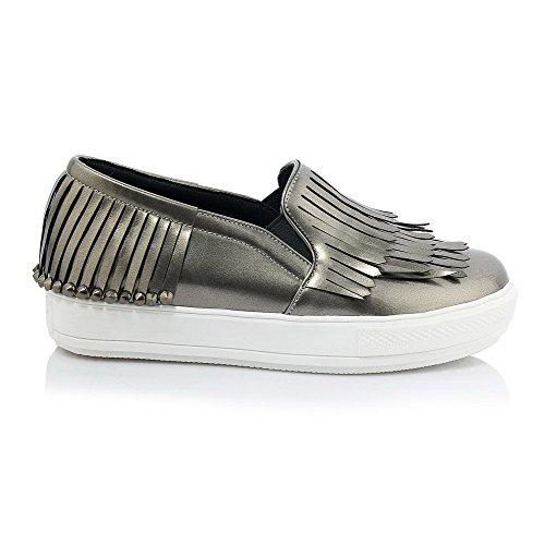 Amoonyfashion Womens Ronde Dichte Teen Lage Hakken Pull On Solid Pumps-schoenen Grijs