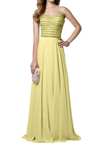 Charmant Rock linie Mit A Gelb Rosa Abendkleider Promkleider Abschlussballkleider pailletten Damen Perlen Langes Hell qwHrxBqg