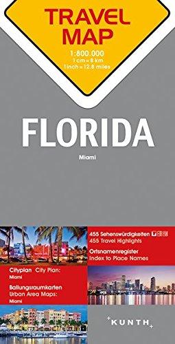 Carte de voyage Floride 1 : 800 000 (Allemand) Carte – 1 octobre 2017 Collectif Kunth 3955045730 Voyages / Cartes et Plans