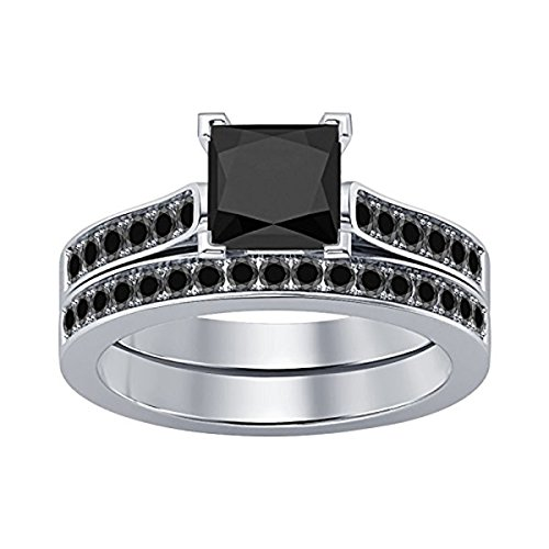 DS Jewels Women's 2.75 CT Princess Cut Created Black CZ Wedding Band Engagement Bridal Ring Set 14K White Gold Plated Alloy Sizes 4-11