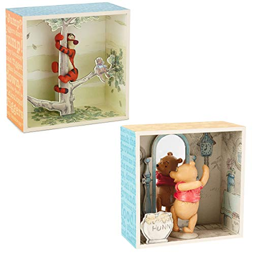 Hallmark (2 Piece Winnie The Pooh Figurines Collectibles Pooh Bear & Tigger Shadow Box Figures Sets