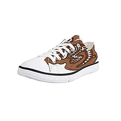 K0k2t0 Canvas Sneaker Low Top Shoes,Dinosaur,Silhouettes of People Looking at a Tyrannosaurus Rex Skeleton in a Museum Decorative Man 10