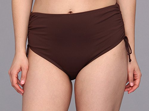 MICHAEL Michael Kors Women's Plus Size Linked Solids Shirred Hipster Bottom Milk Chocolate Swimsuit Bottoms