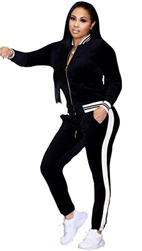 Felicity Young Women's Athletic Soft Velour Velvet Long Sleeve Zip Up Sweatshirt Jacket and Bodycon Sweat Pants Set Tracksuit Black, (Velour Track Pant)