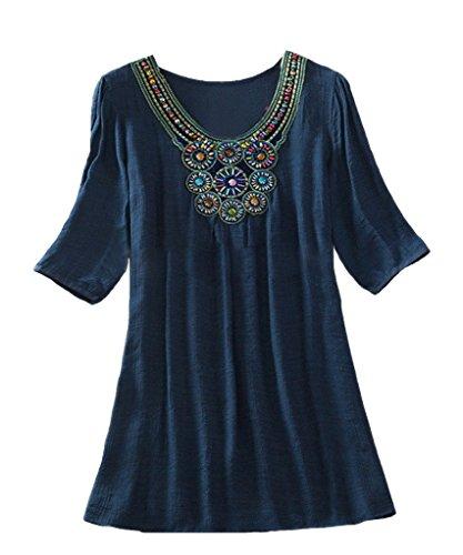 Kafeimali Women's Bohemian Embroidered Blouse Shirt Tunic Embellished Neckline (Navy (Beaded V-neck Top)