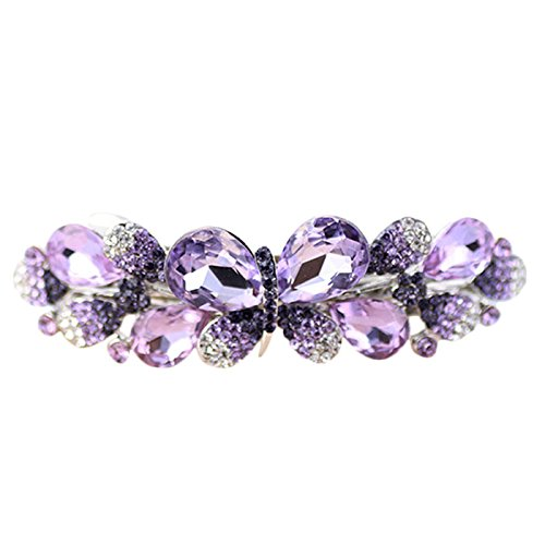 - GreatFun Fashion Women Butterfly Rhinestone Barrettes Hairpin Summer Joker Hair Clip (Purple)