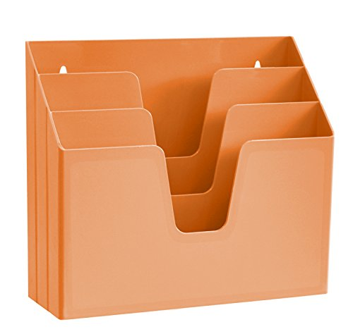 Acrimet Horizontal Triple File Folder Organizer (Orange Citrus Color) by Acrimet