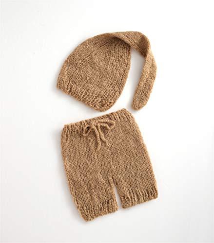 ARLAYO Newborn Photography Props Girls Handmade Mohair Hat and Pants Baby Outfits (Khaki) ()