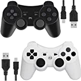 PS3 Controller Wireless for Playstation 3 Dual Shock (Black and White) (Color: Black and White)