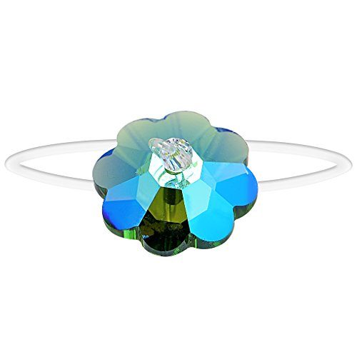 Body Candy Handcrafted Clear Elastic Blue Party Flower Toe Ring Created with Swarovski Crystals